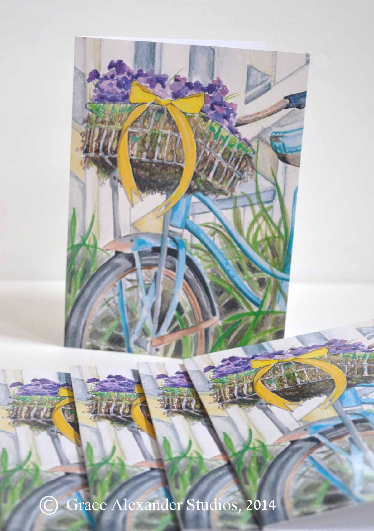 Set of 6 5x7 Envelopes and Stationary Blank Greeting Cards of Watercolor Prints of Spring Bicycle Basket with Violets-violets, spring, bicycle, bike riding, watercolor print cards, bicycle greeting cards