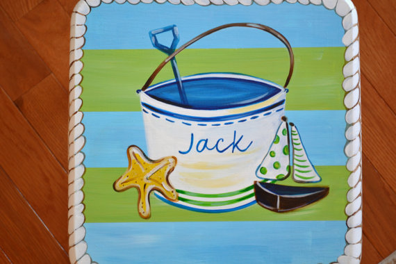 Costal Living Stool for Boy-baby, child's stool, hand painted stool, costal living, beach stool, beach stool for baby, room decor, sail boat, nautical stool, personalized, baby boy, room decor, first boy birthday, cottage room decor, toddler stool, baby furniture, personalized stool