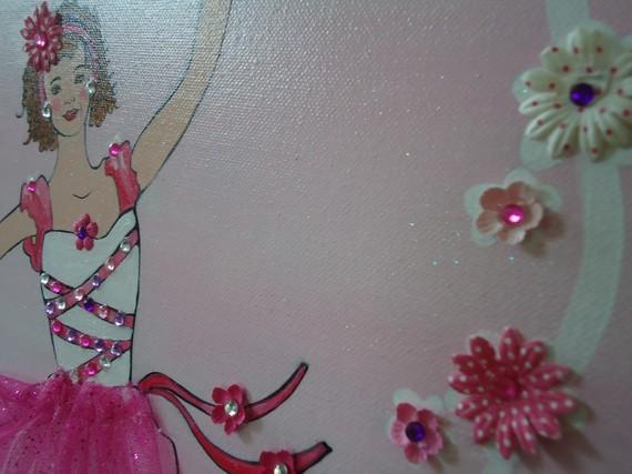 Custom Horizontal Ballerina-Ballerina Canvas Art, Custom Ballerina Painting, Ballerina, Pink Ballerina, Ballerina Wall Decor, Ballerina Room Decor, Nursery, Big Girl Room, Custom Paintings