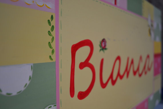 Bianca Name Canvas-Bumble Bee Name Canvas, Personalized Bumble Bee Canvas, Spring Time Name Canvas, Bright Colorful Name Canvas, Baby Girl Nursery Canvas, Girl Room Decor, Baby Girl Nursery Wall Decor