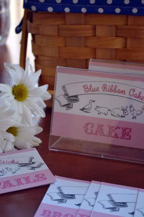 County Fair Day Birthday Food Display Cards-County Fair Day, County Fair Day Birthday Party, Fair Day in May Party, County Fair Birthday Party, County Fair Food Display cards