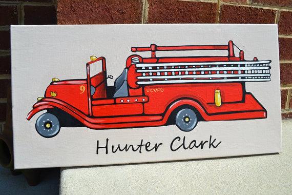 Antique Fire Truck-Firetruck canvas, Firetruck Art, Fire Engine Art, Fire Truck room decor, Firetruck wall decor, Personalized fire truck, Big Boy FireTruck