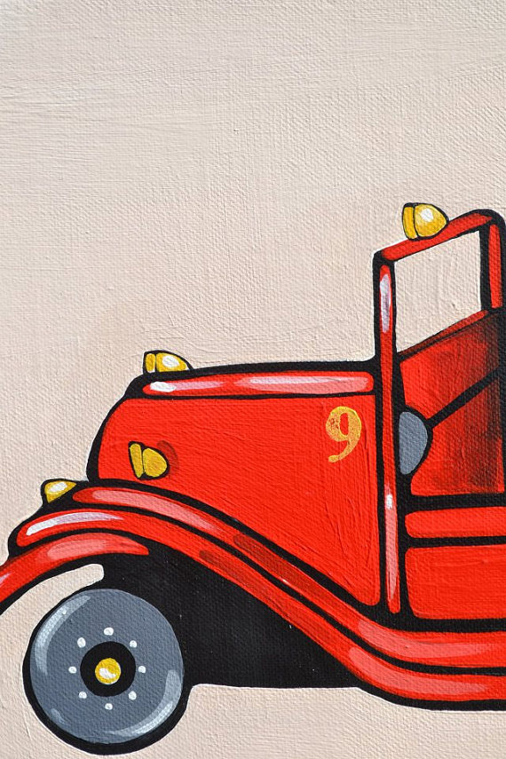 Antique Fire Truck-Firetruck canvas, Firetruck Art, Fire Engine Art, Fire Truck room decor, Firetruck wall decor, Personalized fire truck, Big Boy FireTruck