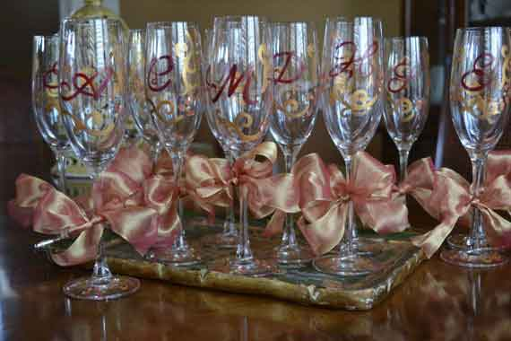 Elegant Decorative Initial Monogram Celebration Champagne Glassware-