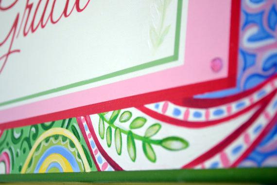 Gracie Name Canvas-baby name canvas, personalized name canvas, name painting, custom nursery name canvas design, nursery name decor, monogram room decor, girl wall art, baby wall art
