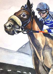 Saratoga New York Race Track Water Color Giclee Print-Saratoga New York Race Track Water Color Giclee Print, race horse, watercolor race horse, original watercolor race horse