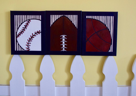 1.5 inch Canvas Navy Blue Football Baseball Basket Ball Border Tan Vertical Stripes Favorite All Star Sports Boy Nursery Canvas Painting-1.5 inch Canvas Navy Blue Football Baseball Basket Ball Border Tan Vertical Stripes Favorite All Star Sports Boy Nursery Canvas Painting