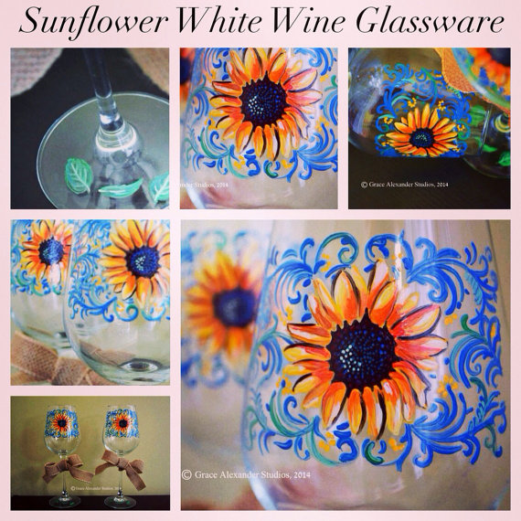 Sunflower Glassware-Sunflower, Sunflower Wine Glass, Handpainted Sunflower Glasses, Mother's day Sunflower glasses