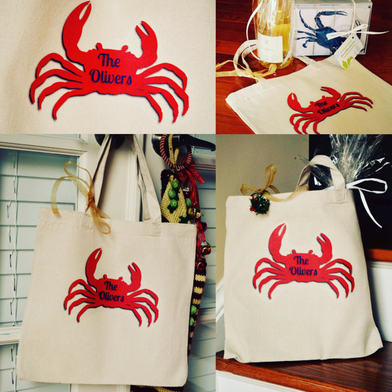Monogram Last Name Personalized Accent Red Crab Nautical Gift Canvas Tote Bag Christmas Birthday Summer-crab bag, personalized crab bag, summer crab bag, crab tote, wine tote, crab tote, red crab tote, crab canvas bag