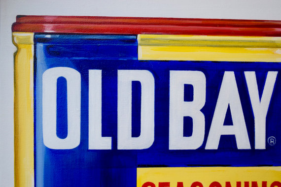 Old Bay Seasoning Maryland Baltimore Annapolis Chesapeake Bay Original Painting Acrylic Kitchen Art 12x24-Old Bay Seasoning Maryland Baltimore Annapolis Chesapeake Bay Original Painting Acrylic Kitchen Art 12x24