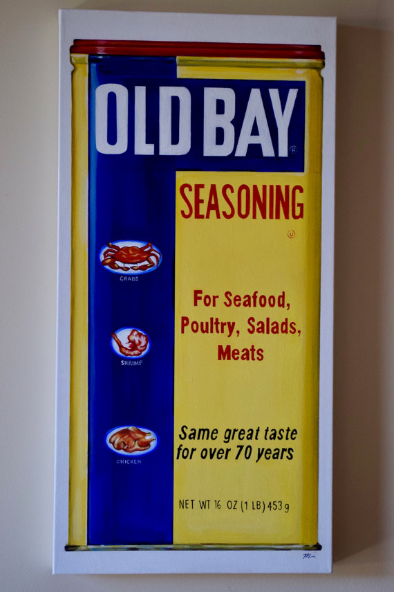 Old Bay Seasoning Maryland Baltimore Annapolis Chesapeake Bay Original Painting Acrylic Kitchen Art 12x24
