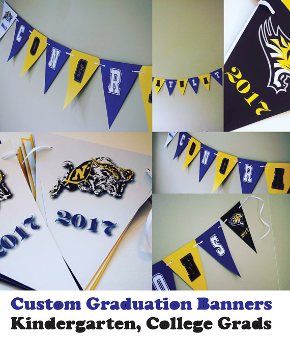 USNA Towson Mascot Any University Kindergarten College State Custom Congratulations Graduation Celebration Banner with Graduation Year