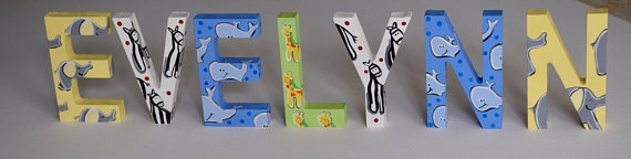 "Standing ABC Animal Theme Personalized custom letter theme hand painted wood 5"" standing block nursery room name letters-Standing Block Letters, Painted Letters, Hand Painted Letters, Elephants, Giraffes, Zebras, Wooden Letters, Personalized Letters"