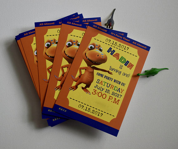 Custom Invitations-Dinosaur Train, Dinosaurs, Dino, Birthday Party Invitations, Dinosaur Invitations
