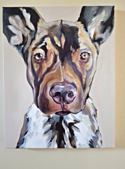 11x14 Realistic Beloved Dog Wall Art Custom Pet Lover Pet Portrait from Your photograph on Wide Profile Canvas-Beloved Pet Portait, Dog Portrait, Canvas Dog Portrait, Dog Portrait Painting, Custom Portrait of Your Pet, Custom Acrylic Pet Portrait