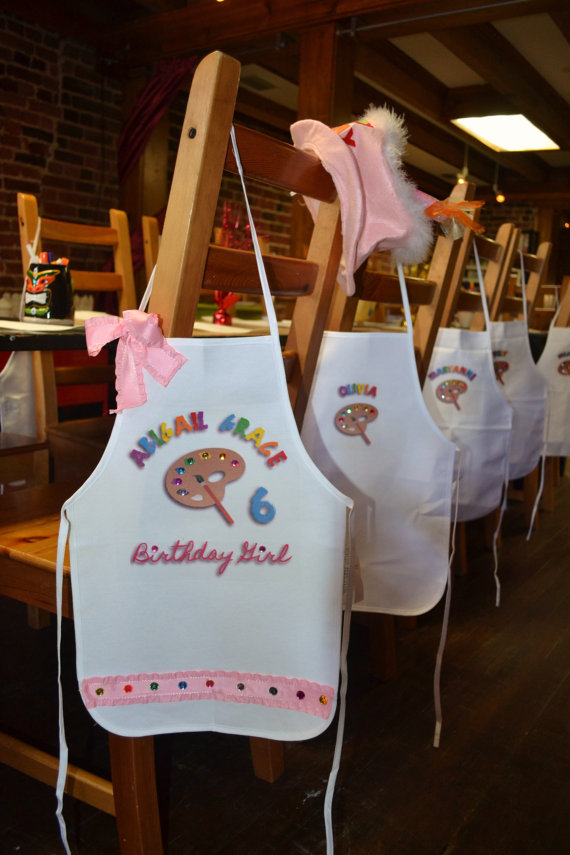 Art Party Painting Pottery Birthday Party Personalized White Tie Up Apron Smock with Palette adorned with Colorful Gems-art party, painting party apron, painting apron, painting party apron, pottery party apron, personalized birthday party apron