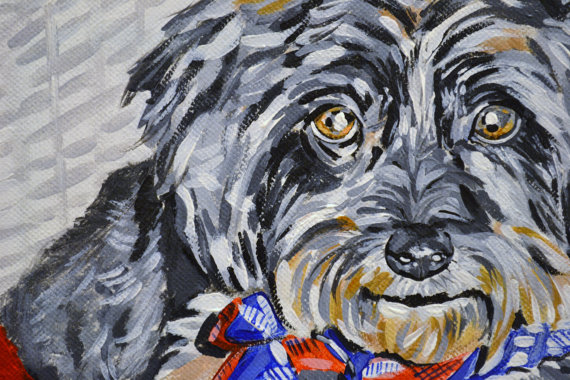 12x12 Pet Portrait on Wide Profile Canvas-Pet Portrait, Canvas, Acrylic, Custom, Pet Wall Decor