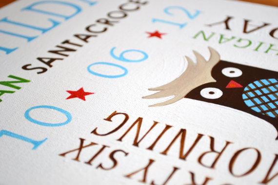 Custom Birth Stats-Birth Stats Canvas, New Arrival, Baby Room Decor, Baby Wall Decor, Nursery Decor, Personalized Custom Canvas for baby, Owl, Birthday, Birthdate, Baby's birth stats, baby's birth stats